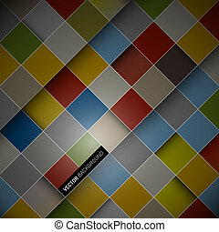 Abstract vector dark background - colorful squares