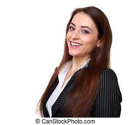 Smiling successful business woman looking isolated on white