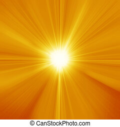 Sun on blue sky with lenses flare - Summer background with a...