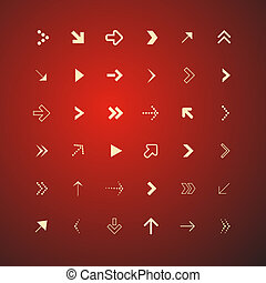 Abstract Arrows Set on Red Background