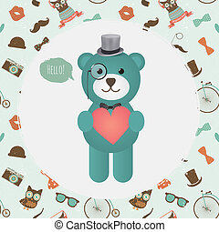 Hipster Bear holding Heart illustration - Vector Hipster...