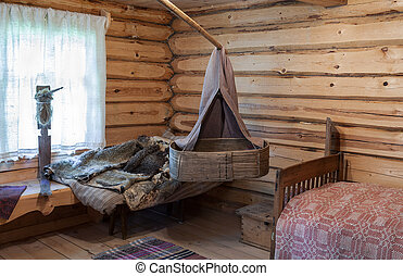 Interior of the old russian traditional wooden house