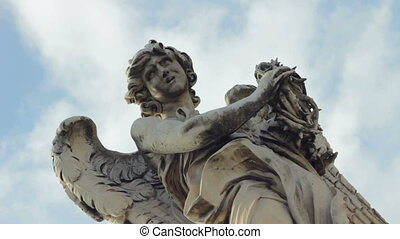 Angel with Thorn Crown On Ponte San Angelo Timelapse Filmed...