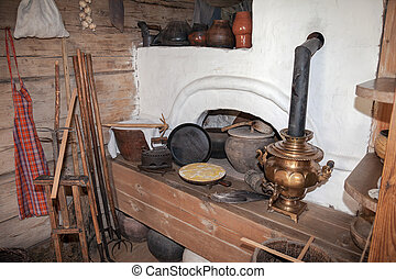 Interior of the kitchen room in the russian traditional...