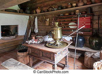 Interior of the kitchen room in russian traditional wooden...