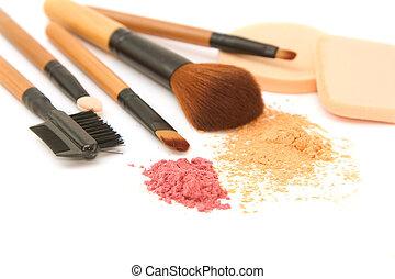 maquillaje, cepillo, Conjunto, facial, polvo