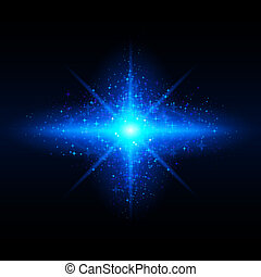 Star galaxy - Blue glowing galaxy with bright flare in...