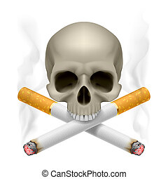 No smoking. - Skull with crossed cigarettes as symbol of...