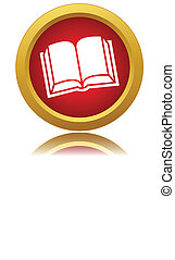 Red book icon on a white background