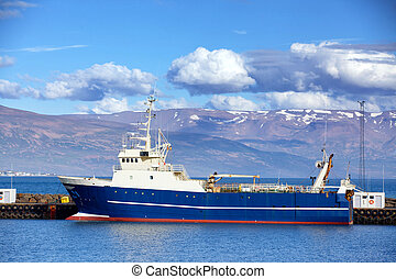 Fishing trawler in Reykjavik Harbor, Iceland during Summer