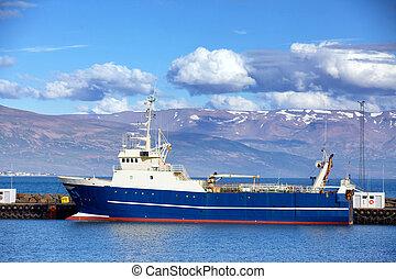 Fishing trawler in Reykjavik Harbor, Iceland during Summer