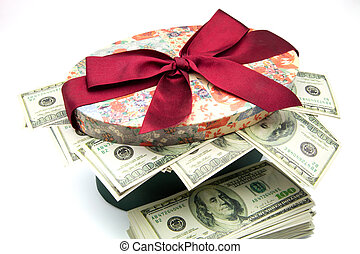 gift box with notes of one hundred dollars