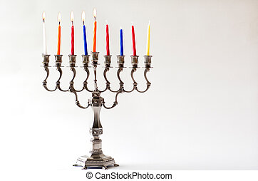 Hanukkah menorah - Fourth day of Hanukkah - Lit Hanukkah...