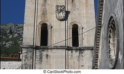 Perast, high bell tower, tilt up