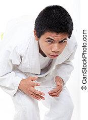 joven, asiático, Adolescente, niño, jiu, jitsu, marcial,...