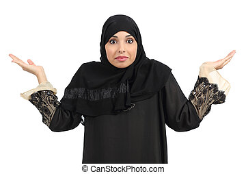 Arab woman doubting and gesturing isolated on a white...