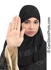 árabe, mujer, Elaboración, parada, gesto,...