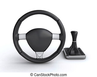steering wheel and gear stick - Leather car steering wheel...