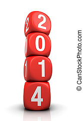 new year 2014 concept with dice on the white background 3d...