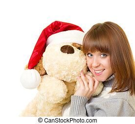 woman with toy dog - Beautiful young woman in Santa Claus...