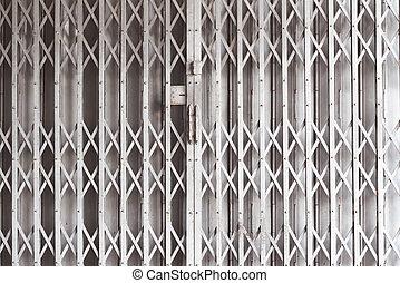door metal, shutters shop or industrial building