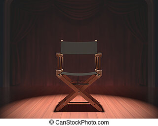 Director Chair - Director's chair on the stage illuminated...