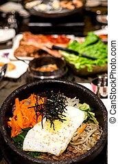 Korean Bi Bim Bap - Traditional Korean Bibim Bap on hot...