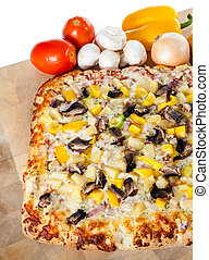 Homemade Pizza With Assorted Toppings - Garlic bread pizza...