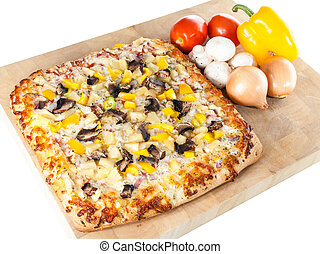 Homemade pizza with fresh ingredients - Freshly baked pizza...