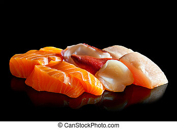 Delicious Sashimi - Assorted sashimi isolated on black