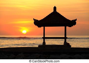 pagode,  sanur, amanhecer