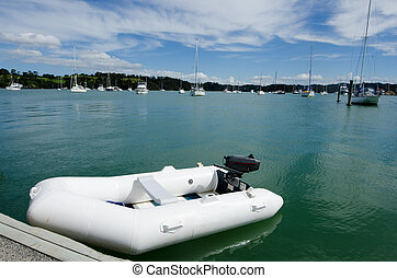 Rubber inflatable dinghy boat - White rubber inflatable...