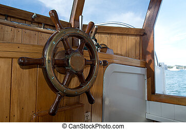 Steering wheel of old boat - Steering wheel of classic old...