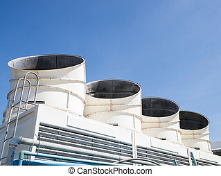 cooling tower - set of cooling tower on clear sky