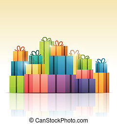 Colorful Gifts - Vector illustration of heaps of colorful...