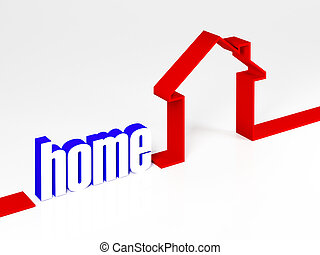 house metaphore 3d image on white background