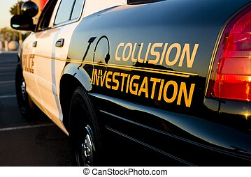 Collision Investigation - A close up of a police car that...