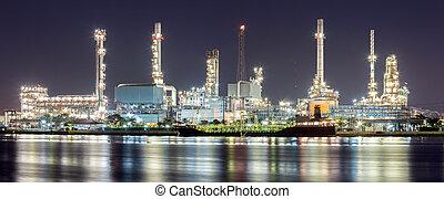 aceite, refinería, planta, panorama