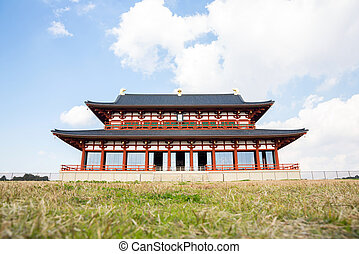 Heijo Palace in Nara, Japan - Daigokuden Hall of Heijo...