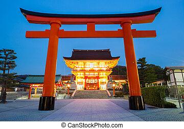Fushimi Inari Shrine Kyoto - Fushimi Inari Shrine at dusk...