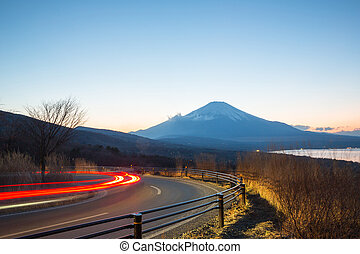 Mountain Fuji Landscape at dusk - Fuji fujisan at dusk from...