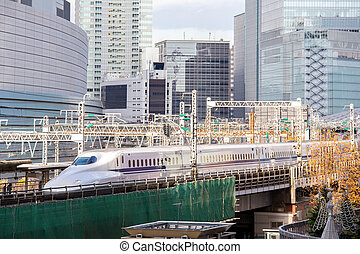 Tokyo railway with skyline - railway with skyline at...