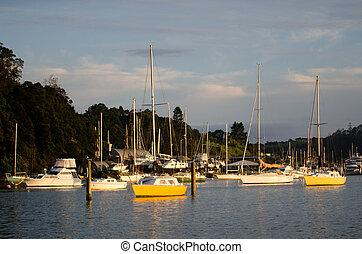 Opua marina at the Bay of Islands New Zealand - OPUA, NZ -...