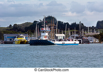 Opua - Russell ferry at the Bay of Islands New Zealand -...