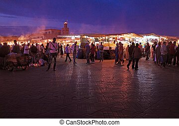 MARRAKECH - MOROCCO, 22 OCTOBER 2013:Jamaa el Fna is a...