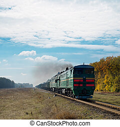 old train and smoke over it