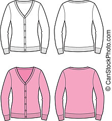 Cardigan - Vector illustration of womens cardigan Front and...