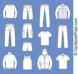 Casual clothes - Vector illustration. Set of men's casual...