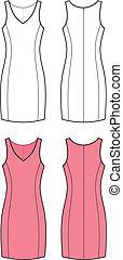 Dress - Vector illustration of women's elegant dress. Front...
