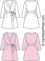 Bathrobe - Vector illustration of women's dressing gown....